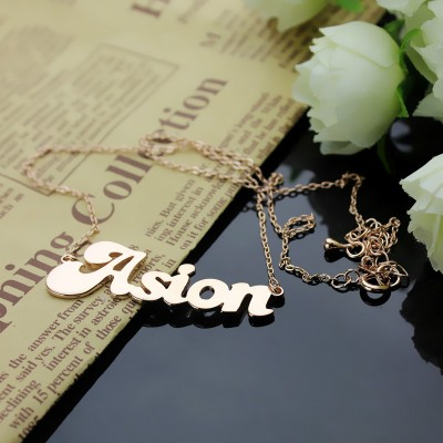 Personalised 18CT Rose Gold BANANA Font Style Name Necklace
