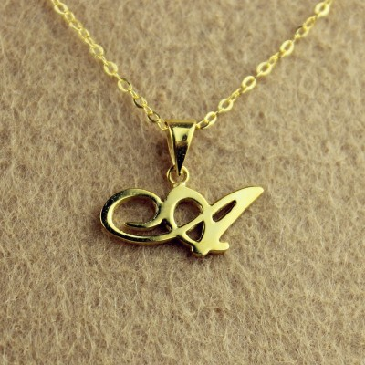 18CT Gold Christina Applegate Initial Necklace