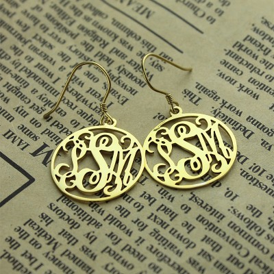 18CT Gold Personalised Circle Monogram Earring