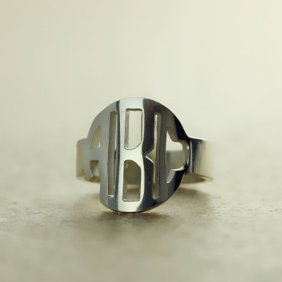Circle Block Monogram 3 Initials Solid Gold Ring Solid White Solid Gold Ring