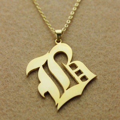 Solid - 18CT Gold Old English Style Single Initial Name Necklace
