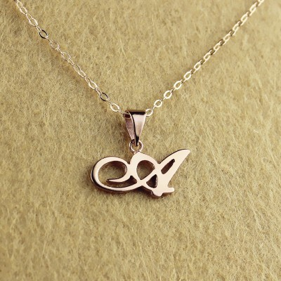 Personalised Madonna Style Initial Necklace 18CT Solid Rose Gold