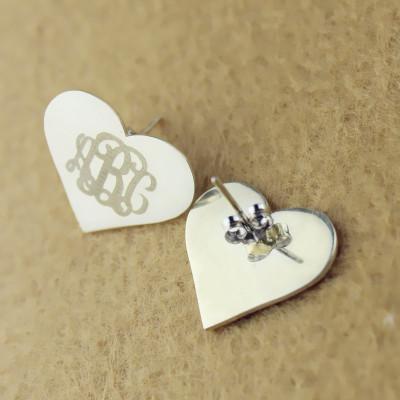 Heart Monogram Earrings Studs Cusotm 18CT White Gold