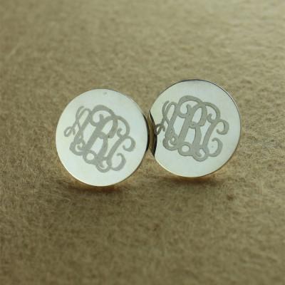 Circle Monogram 3 Initial Earrings Name Earrings Solid 18CT White Gold