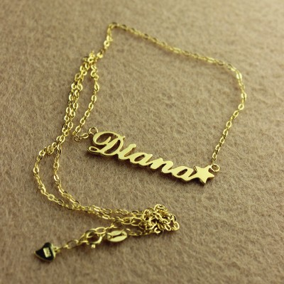 18CT Gold Carrie Style Name Necklace With Star