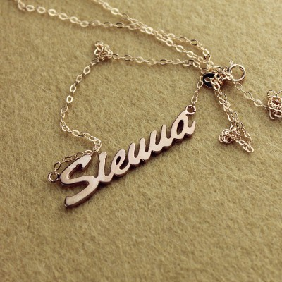18CT Rose Gold Sienna Style Name Necklace