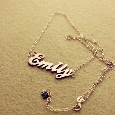 Cursive Script Name Necklace 18CT Solid Rose Gold