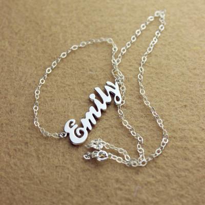 Cursive Script Name Necklace 18CT Solid White Gold