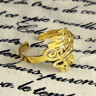 Monogram Cuff Bracelet Hand Write - 18CT Gold