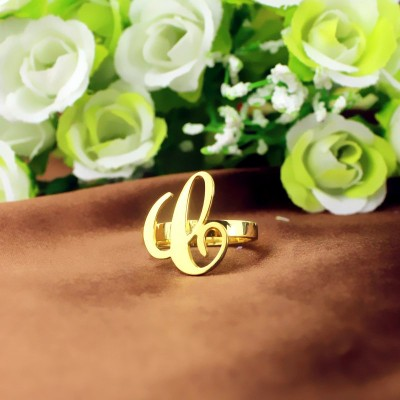 Personalised Carrie Initial Letter Ring - 18CT Gold