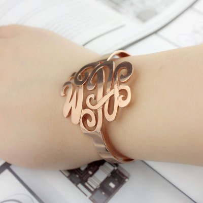 Monogram Cuff Bracelet Bangle Hand Writing Rose Gold