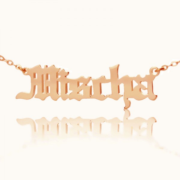 Mischa Barton Style Old English Font Name Necklace 18CT Rose Gold