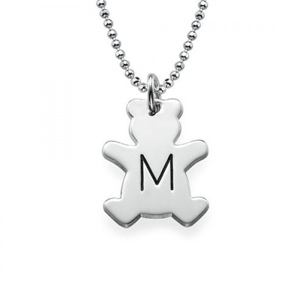 White Gold Teddy Bear Necklace with Initial