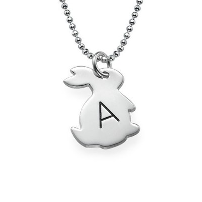 White Gold Tiny Rabbit Necklace with Initial