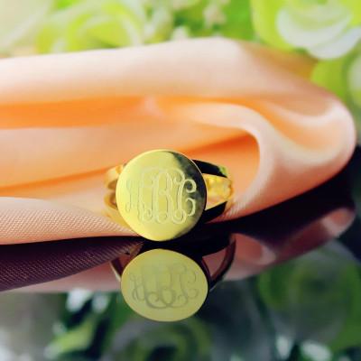 18CT Gold Circle Monogram Signet Ring