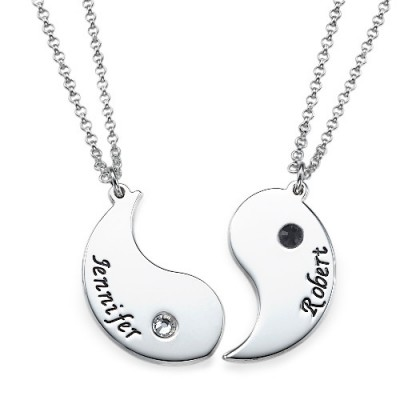 Solid Gold Yin Yang Necklace for Couples with Engraving