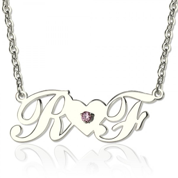 18CT White Gold Double initials Necklace