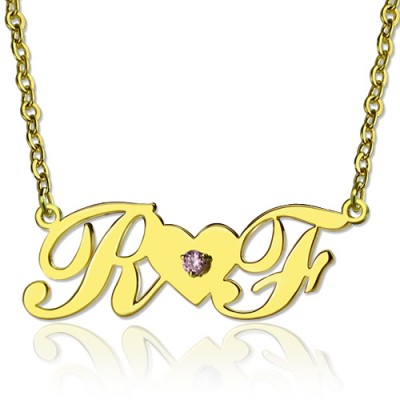 18CT Gold Two Initials Necklace