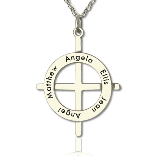 Solid Gold Latin Style Circle Cross Name Necklace with Any Names