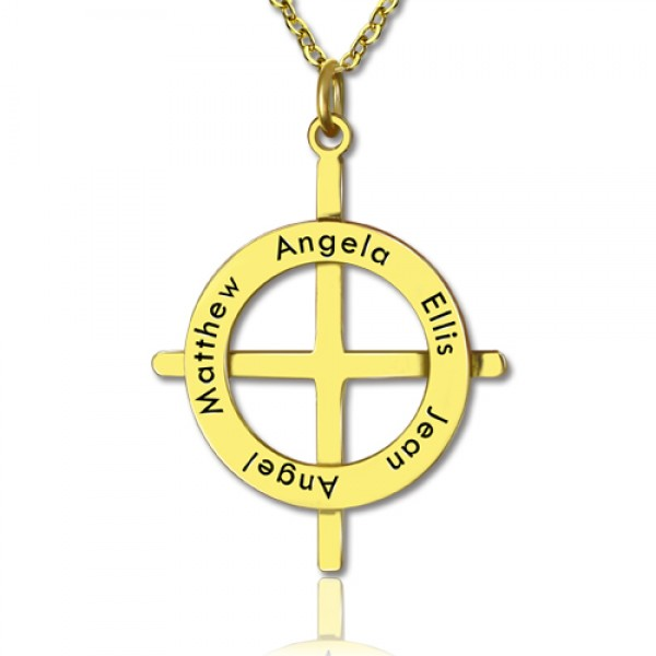 Gold Latin Style Circle Cross Necklace with Any Names