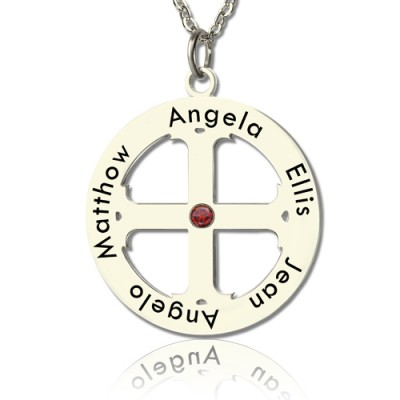 Solid Gold Family Circle Cross Name Necklace