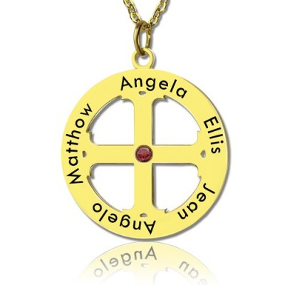Cross Name Necklace with Circle Frame 18CT Gold