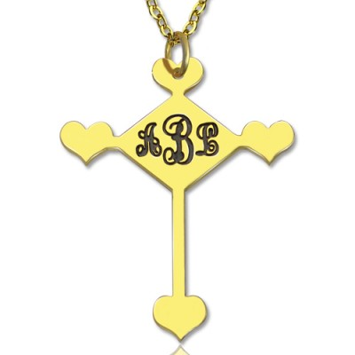 Engraved Cross Monogram Necklace - 18CT Gold