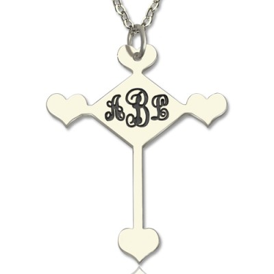 18CT White Gold Cross Monogram Necklace