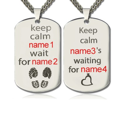 Solid Gold Cute His and Hers Dog Tag Necklaces