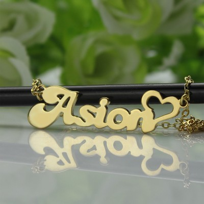 Personalised BANANA Font Heart Shape Name Necklace Solid Gold