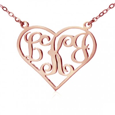 18CT Rose Gold Initial Monogram Personalised Heart Necklace