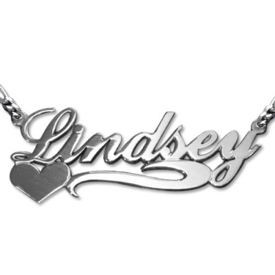 Solid White Gold Double Thickness Side HeartName Name Necklace