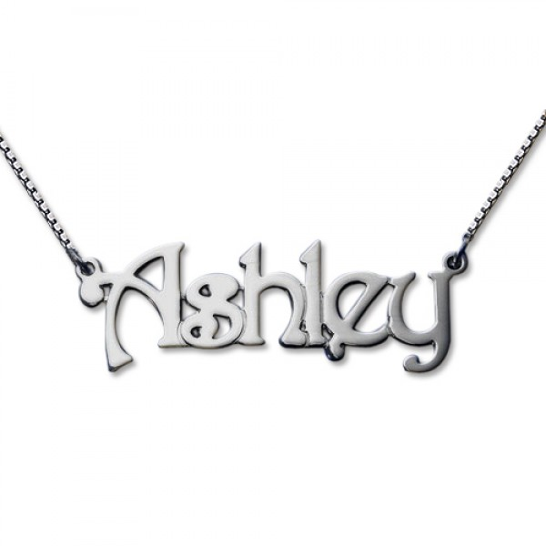Harrington Style 18CT White Gold Name Necklace