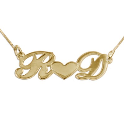 Couples Heart Necklace in 18CT Gold