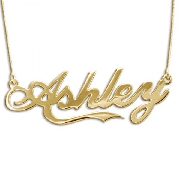 18CT Yellow Gold Large Name Necklace In Coca Cola Style Font