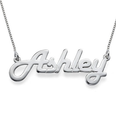 Stylish White Gold Name Necklace