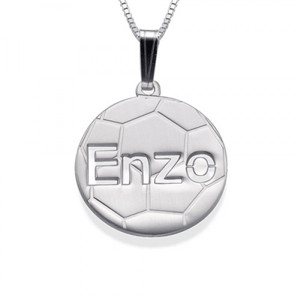 18CT White Gold Personlised Football Pendant