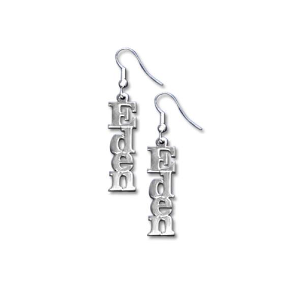 18CT White Gold Name Earrings