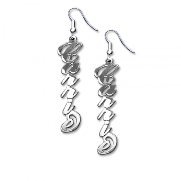 18CT White Gold Carrie Name Style Earring