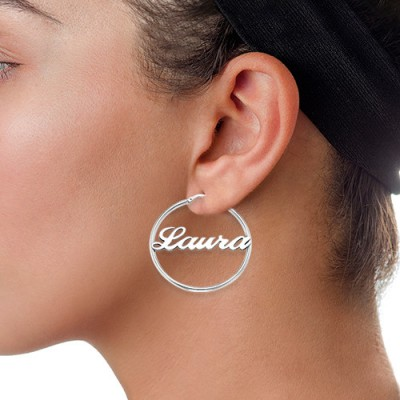 18CT White Gold Hoop Name Earrings