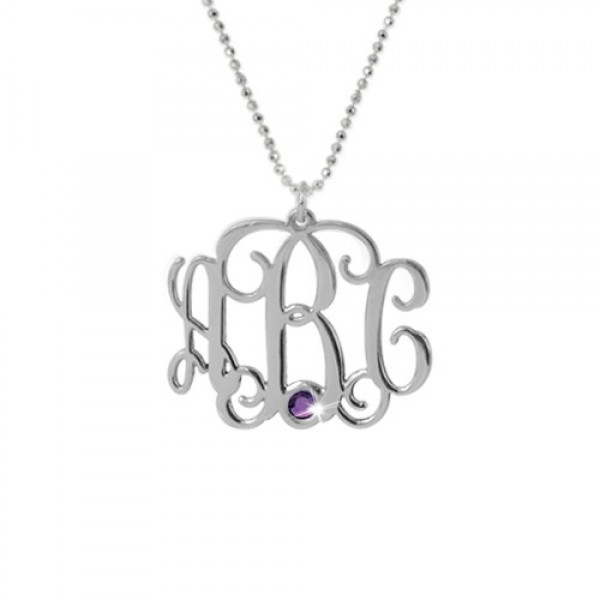 18CT White Gold Monogram Necklace with Swarovski