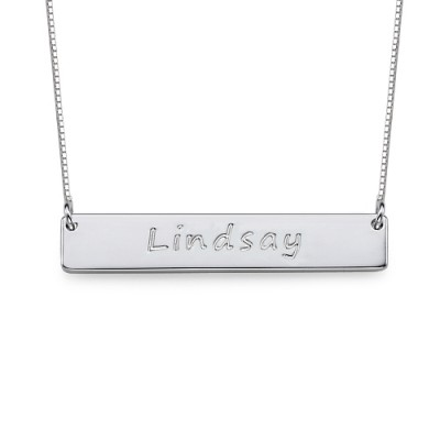 18CT White Gold Bar Nameplate Necklace
