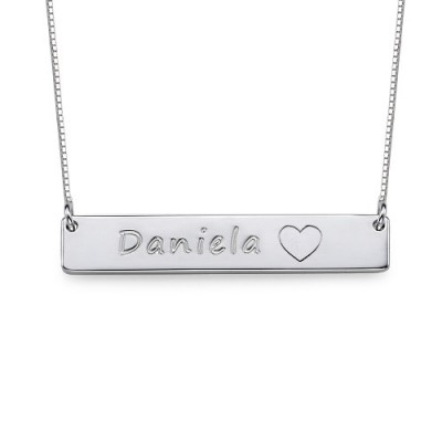 Solid White Gold Bar Name Necklace with Icons