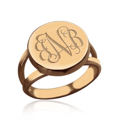 Rose Gold Circle Signet Monogram Ring