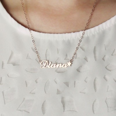 Rose Gold Sex and The City Name Neckalce With Star