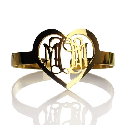 Personal Gold 3 Initials Monogram Bracelets With Heart