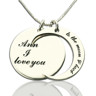 Solid Gold I Love You to the Moon and Back Love Necklace