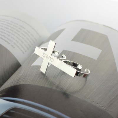 Custom Two finger Cross Solid Gold Ring Engraved Name