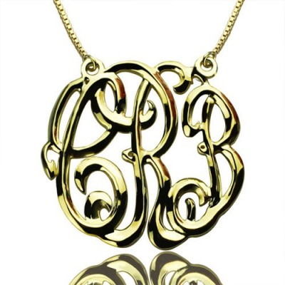 Celebrity Cube Premium Monogram Necklace Gifts - 18CT Gold