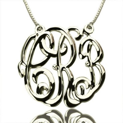 Solid White Gold Celebrity Cube Premium Monogram Necklace Gifts